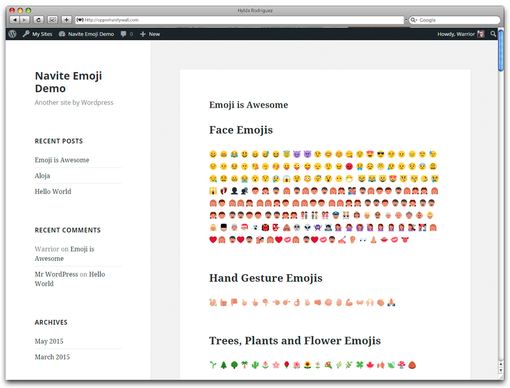 Emoji Nativo para Wordpress